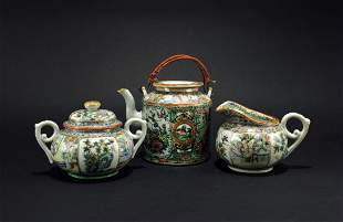 Three of Canton Rose Teaset the Late of Qing Dynasty