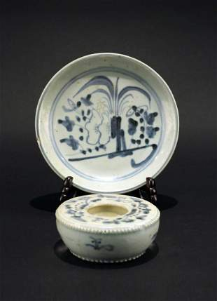 Blue&White Dish and Candlestick Qing Dynasty