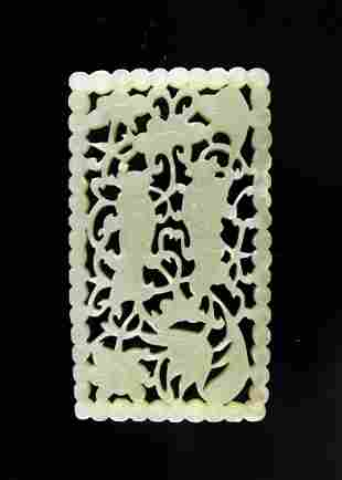 White Jade Carved with Two gods of Harmony and Union