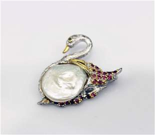 Silver Inlay with Pearl and Ruby Brooch