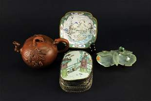 Famille Rose Box Cloisonne Plate jade Plate and Zisha