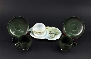 Japanese Green Glaze Teaset and Thin tire porcelain