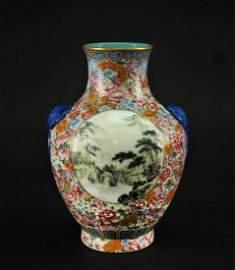 Famille Rose Flowers and Landscape Vase Republican