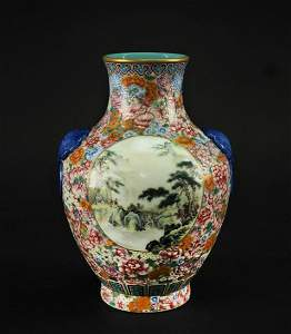 Famille Rose Flowers and Landscape Vase Republican