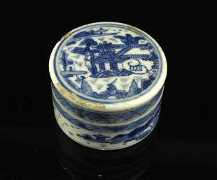 Blue and White Ink Box Late Qing Dynasty