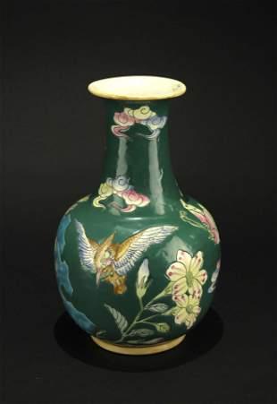 Green Glaze Famille Rose Vase