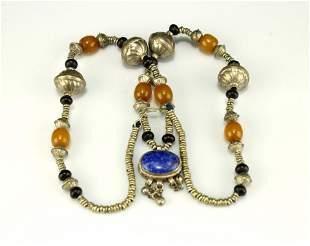 Silver Inlay lapis lazuli Pendant Tibetan necklace Qing
