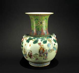 Famille Rose Story Vase Late of Qing Dynasty
