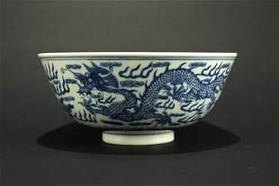 Blue and White Dragon Bowl Guangxu Period