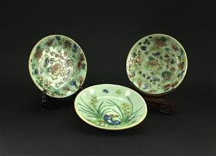 Three Celadon Famille Rose Dishes Qing Dynasty Period