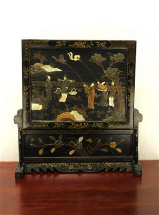 Black Lacquerware Gilt Story Table Screen Late of Qing