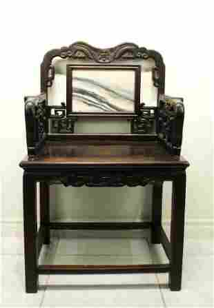 Rosewood Inlay with Marble Chair Qing Period