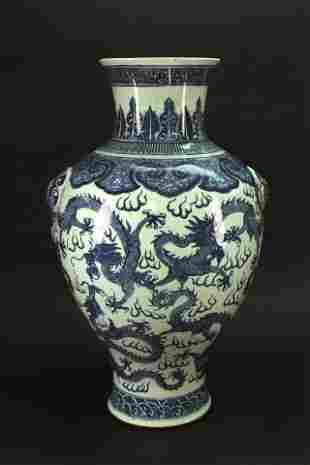 Blue and White Dragon Big Vase Qing Kangxi Period