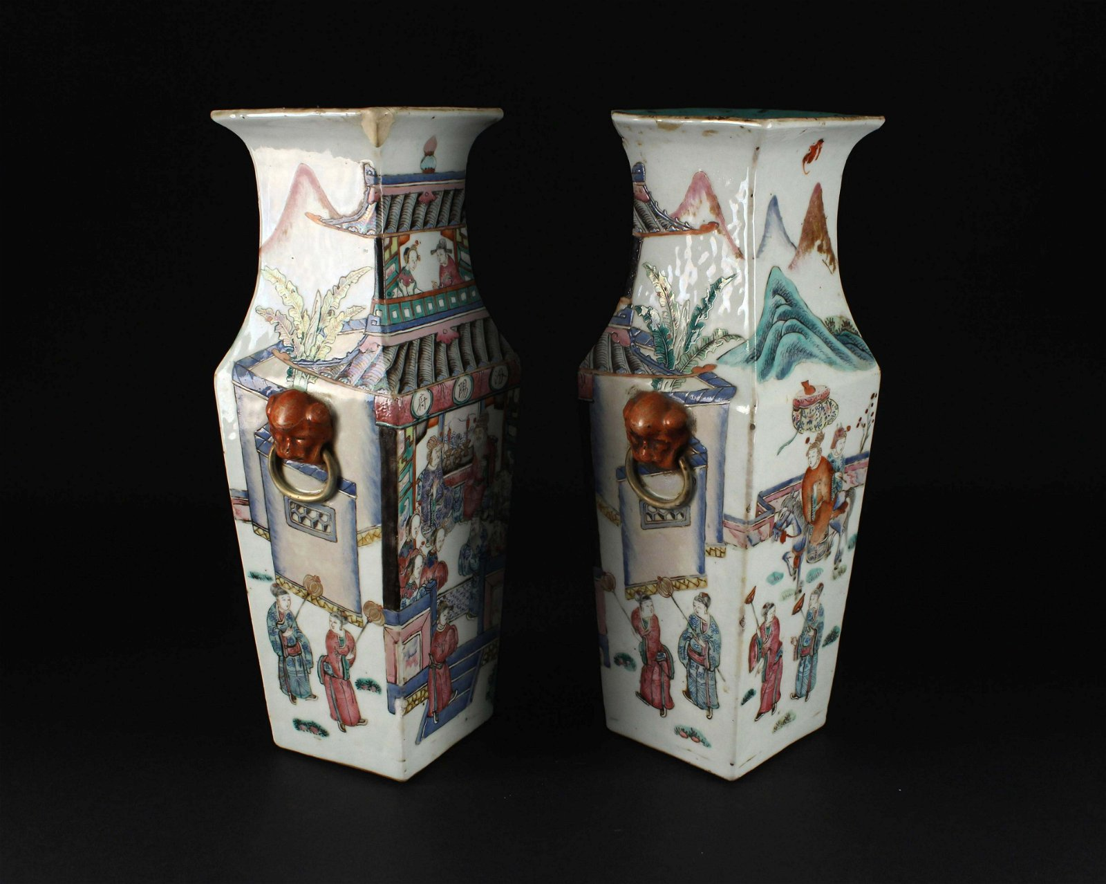 Pair of Famille Rose Square Vase Daoguang Period