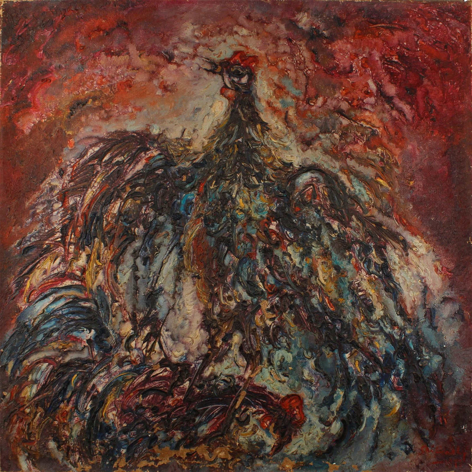 Indonesia Srihadhy, cockfighting, Oil on Canvas 1977