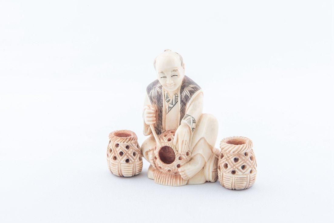 Ivory Carved Japanese Craftsman,Signed QingShan