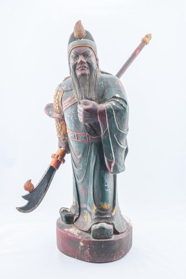 Hard Wood Gilt Color GUAN GONG Sculpture