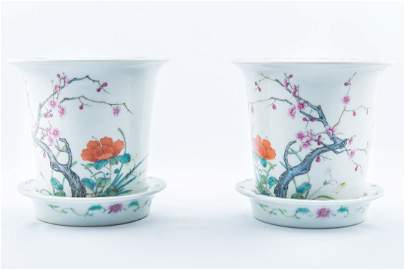 Pair of Enamel  Color Porcelain Flower Pot with Tray