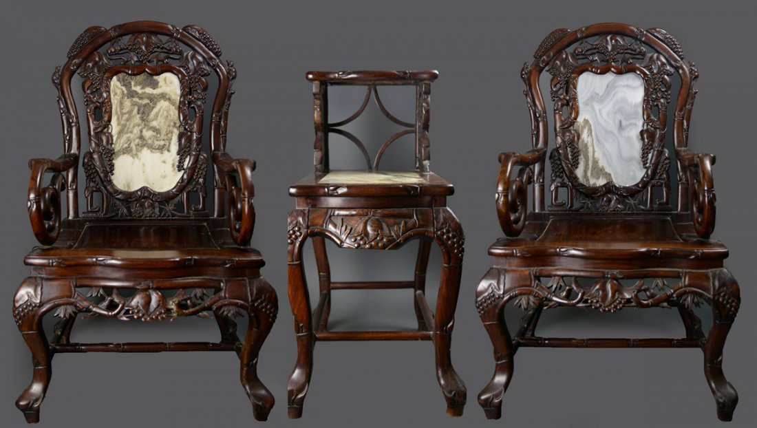 Red Rosewood Armchair Set Marble Inlaid (3pc)
