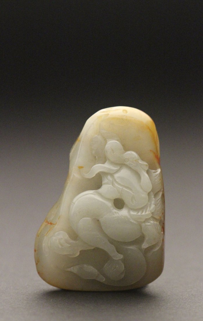 He Tian Green Jade Carved   Dragon   Pendant