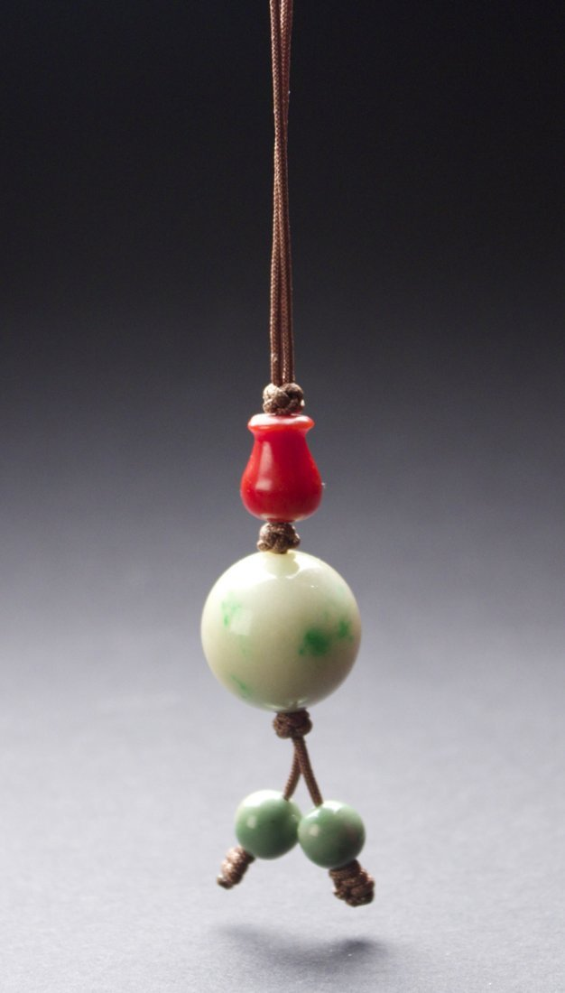 Red Coral and Jadeite Pendant
