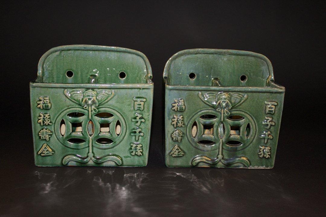Pair of Shiwan Ceramics Chopsticks Container