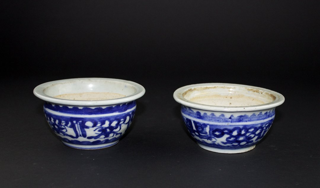 Pair of Blue and white Censer, the Late of Qing Dynasty
