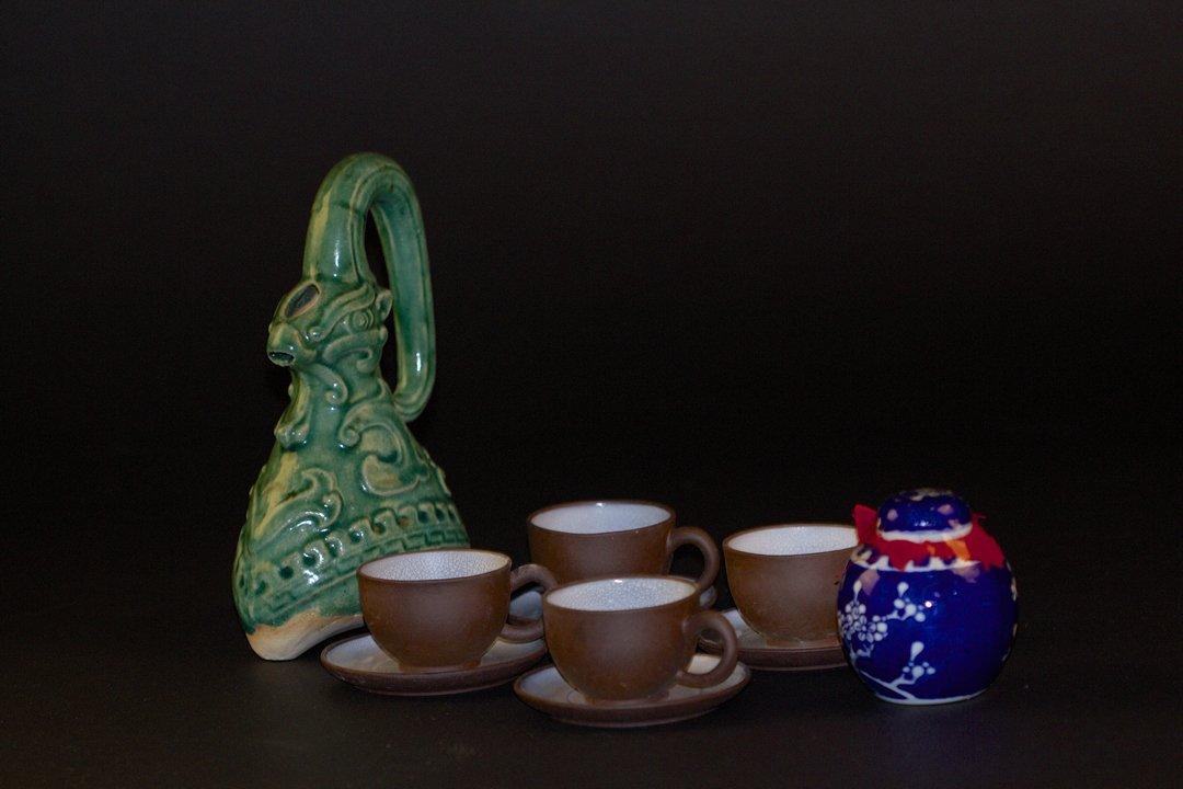 A Shiwan Ceramics Pot, A Zisha Tea Set and Small Jar