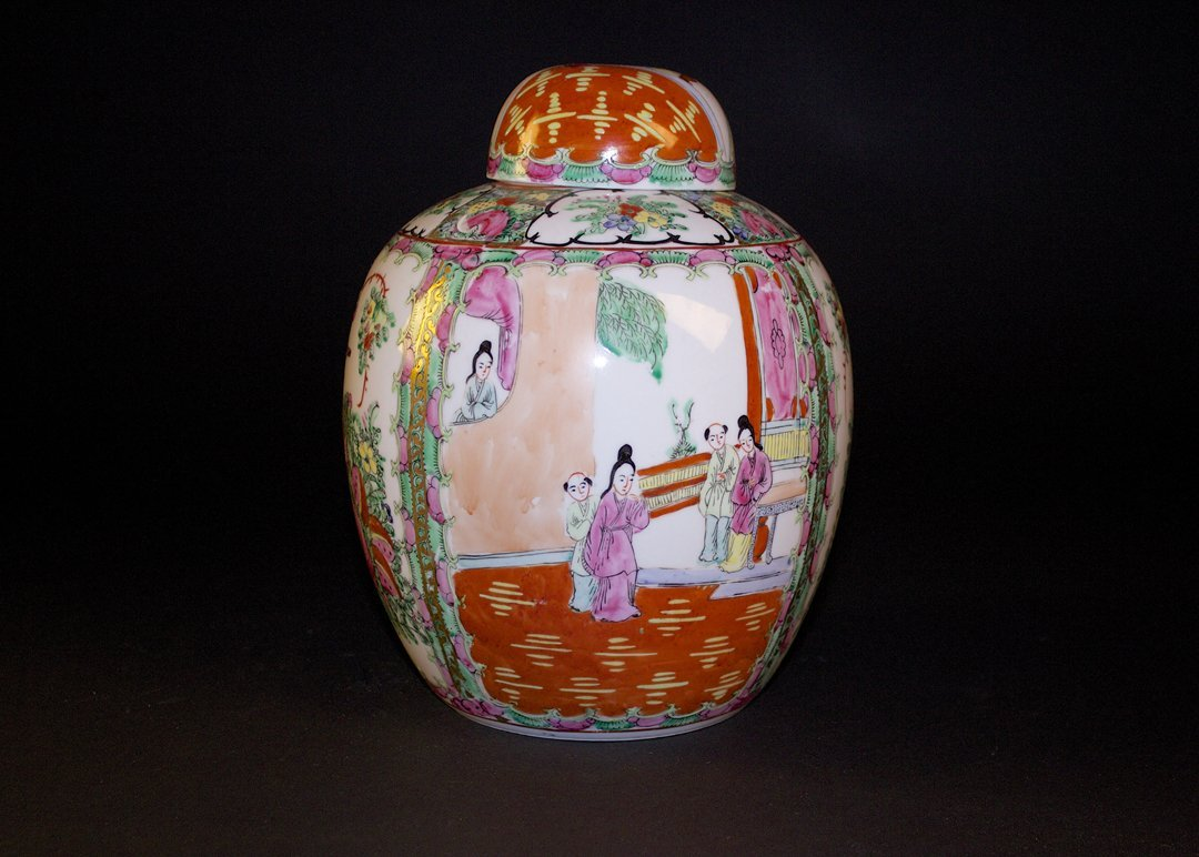 Export-style Canton Rose Jar and Cover, Republican