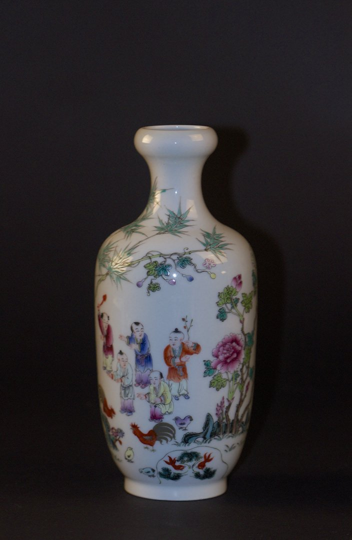 Famille Rose 'Boys' Garlic Head Vase, Xuantong Mark