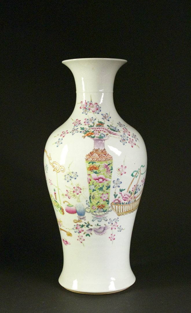 Famille Rose Baluster Vase, Qianlong Mark and Period
