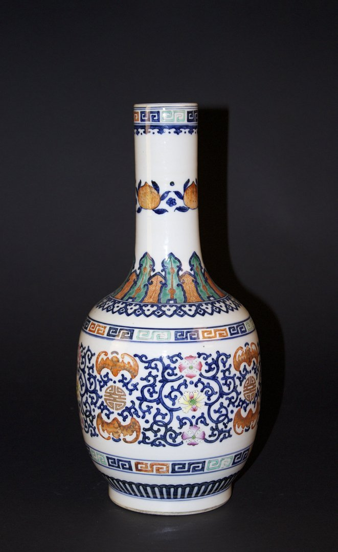 Blue and White with Overglaze Colours Dragon Vase
