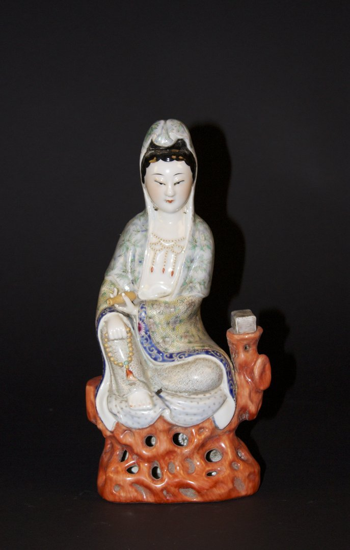 Famille Rose Porcelain Figure of kuanyin Buddha