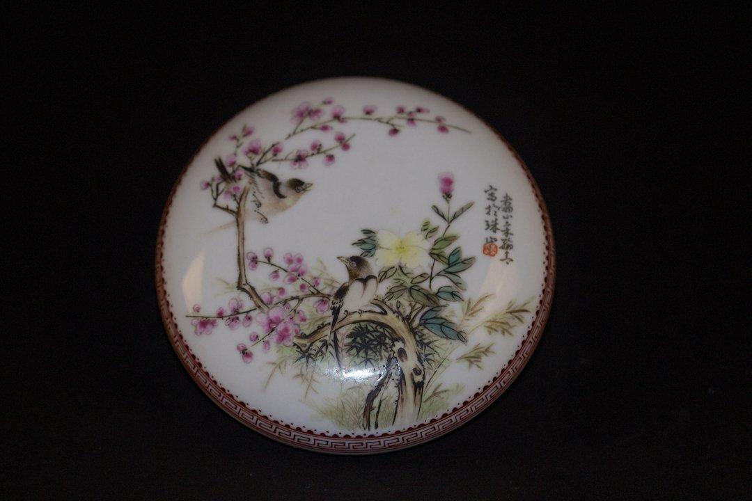 Famille Rose Birds & Flowers box, Hangqing autograph