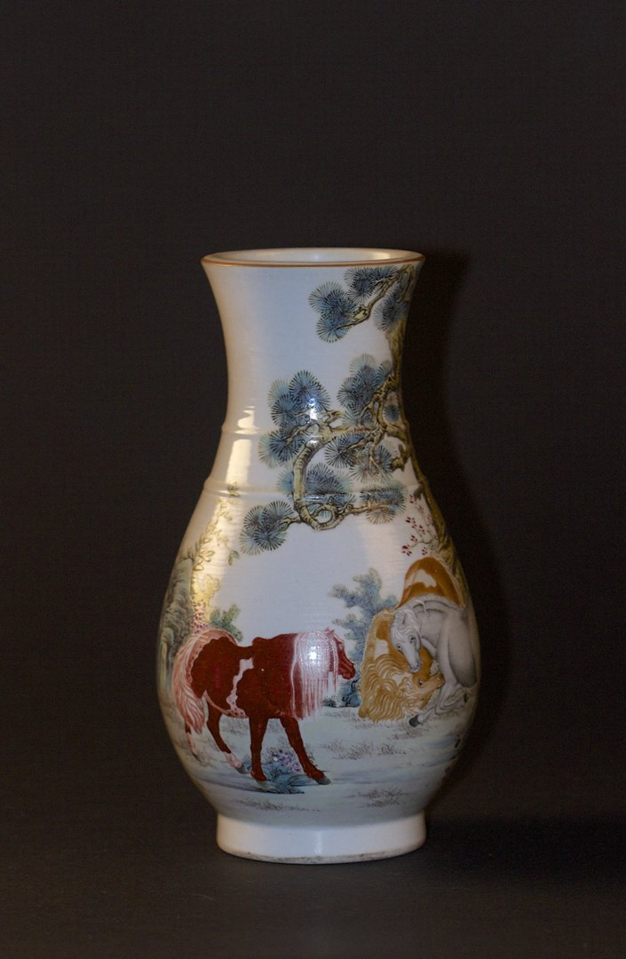 Famille Rose Horses Vase, Republican Period