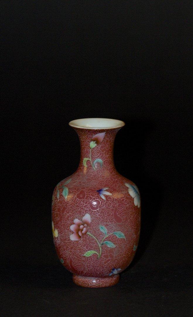 Famille Rose Red Glaze with Carved Background Vase