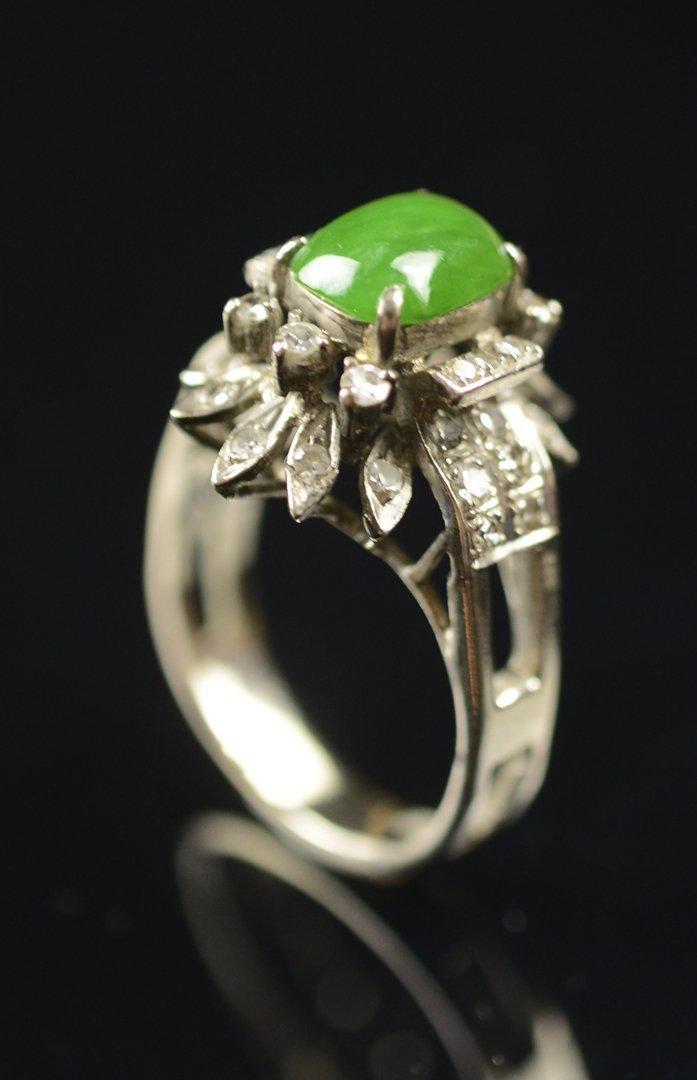 Jadeite Ring with Diamond (38 Pieces of Small Diamond