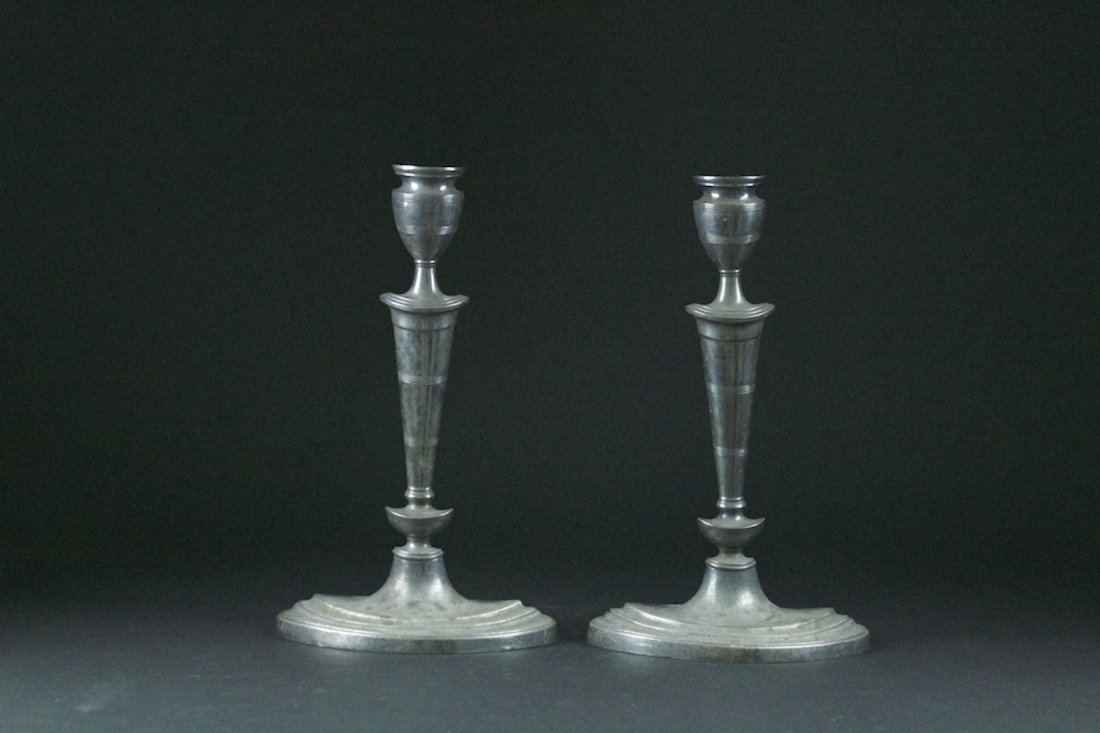 Pair of Copper Candlestick with Roman Art Style