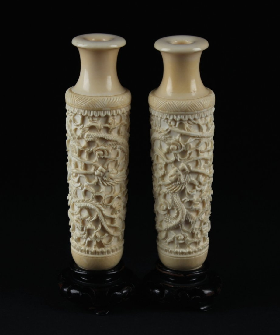 A pair of Ivory Vase Carved with Dragon