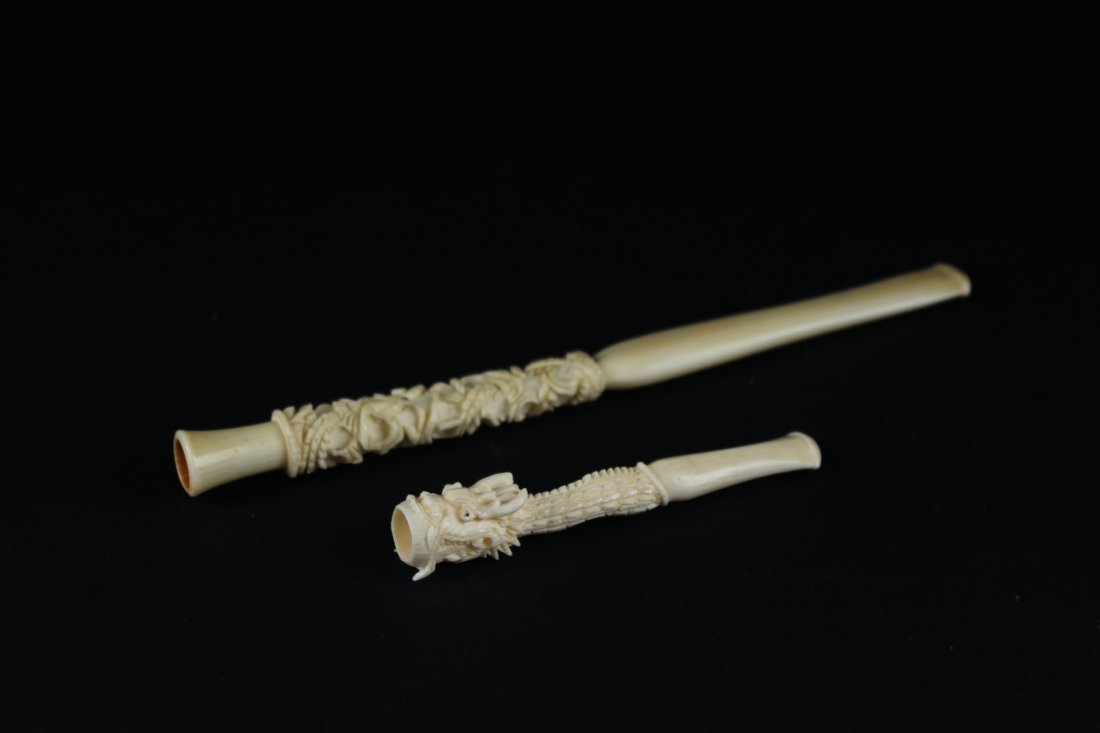 Two pieces of Ivory pipe