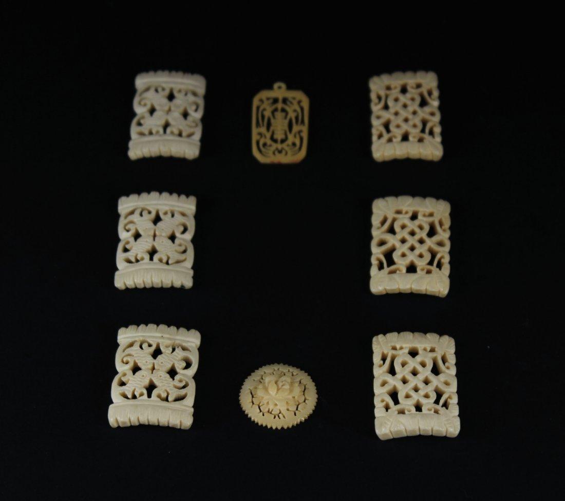 Eight Pieces of Bone Sculpture Button