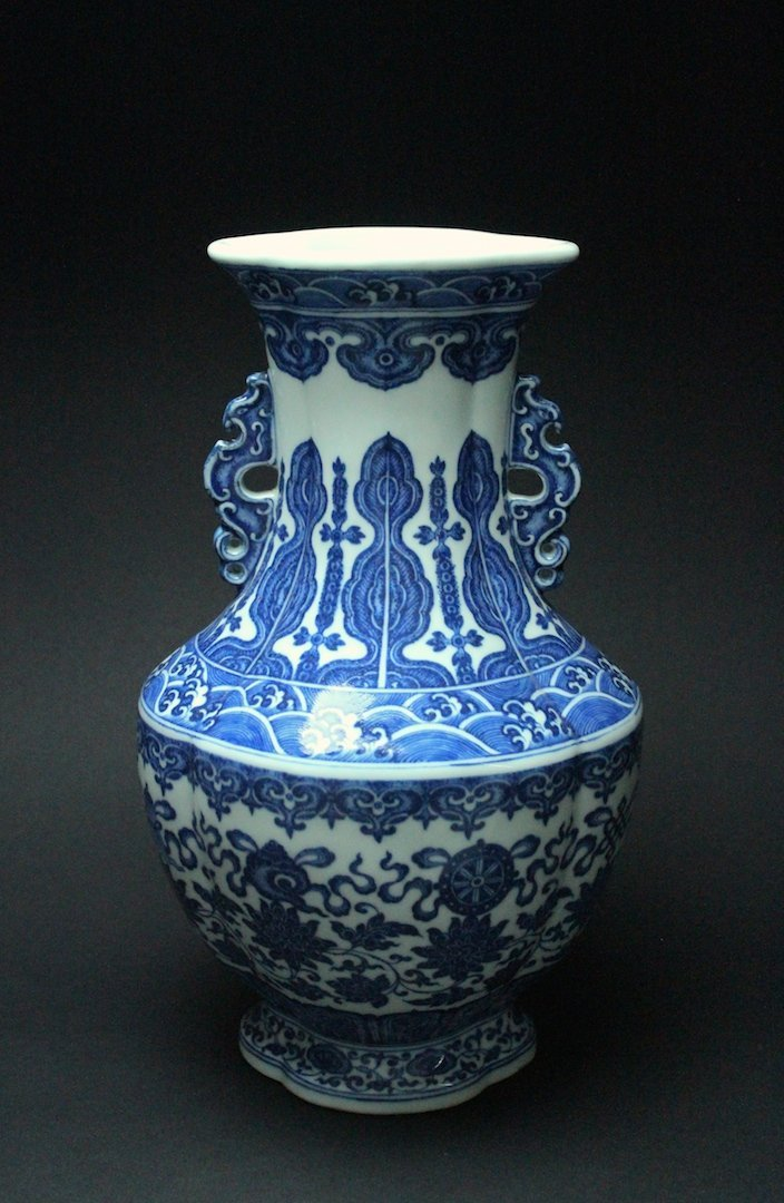 Blue and White Lotus & the Buddhist Treasures Vase Qing