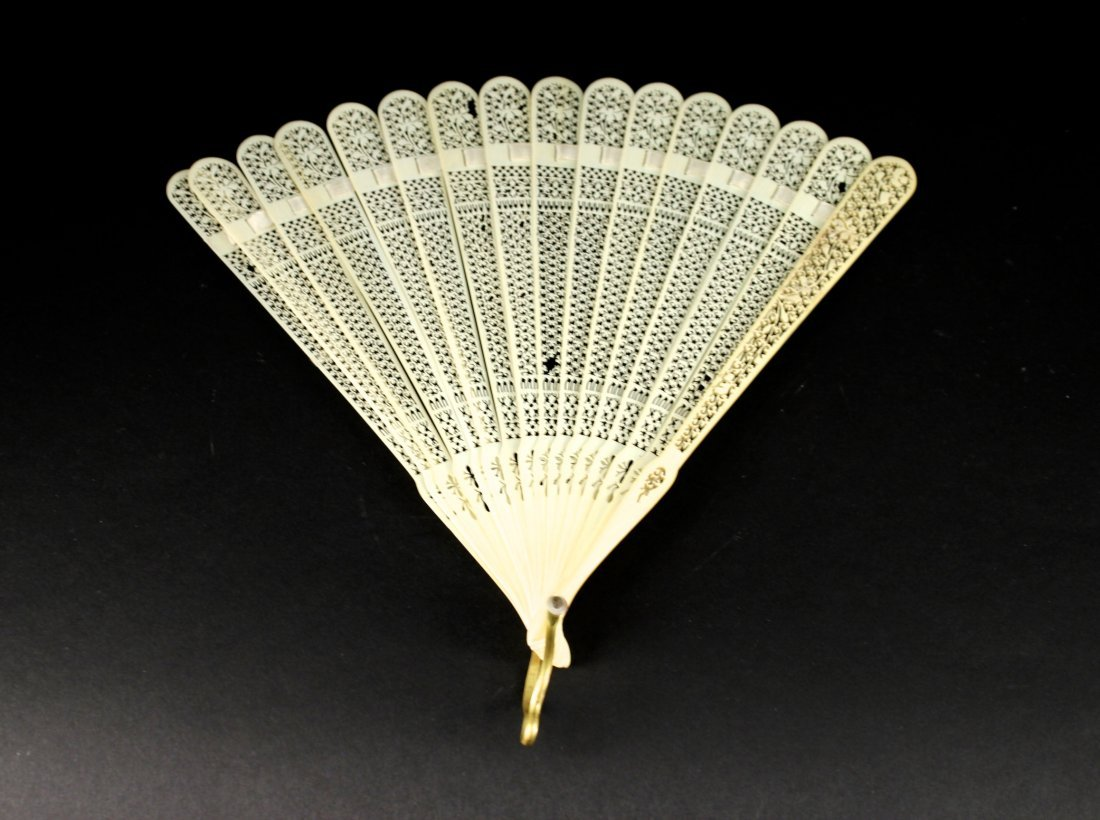 Ivory Carving Folding Fan Republican Period