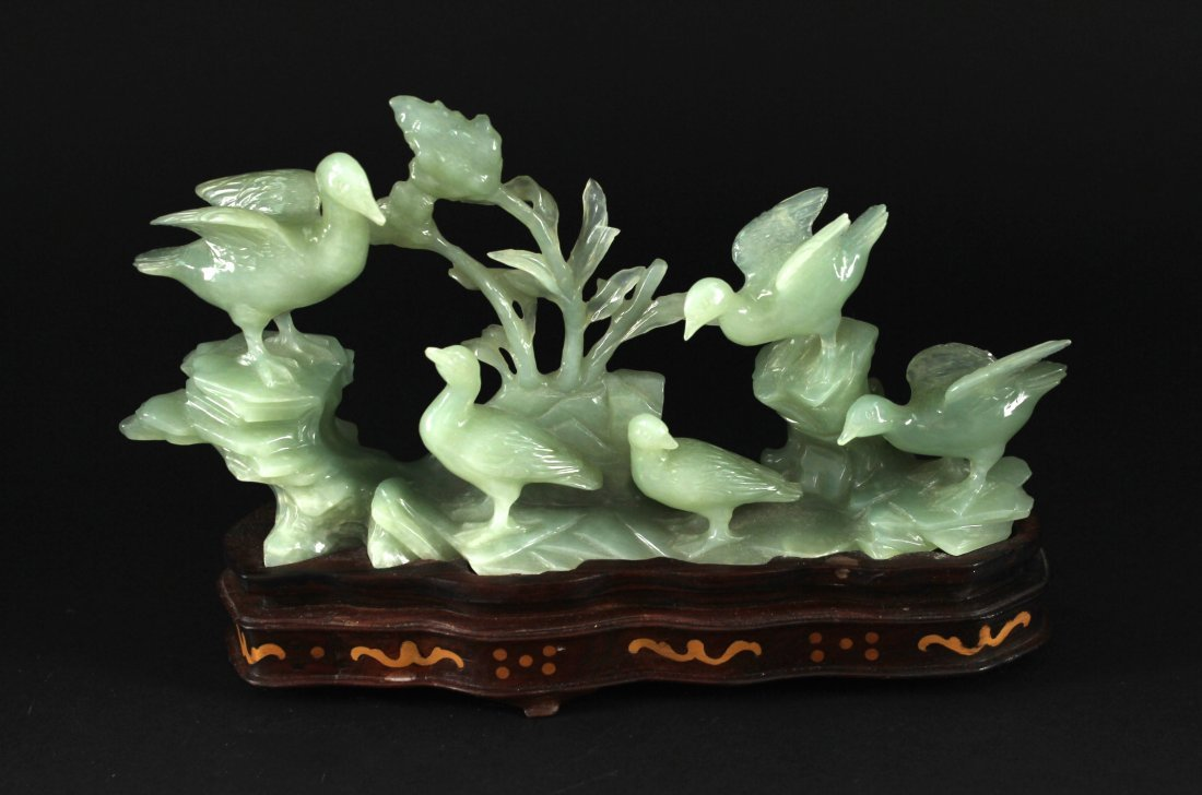 Green Jade Five Birds Decorative Item