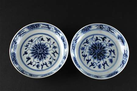 Pair of Blue and White Lotus Dish Guangxu Mark and