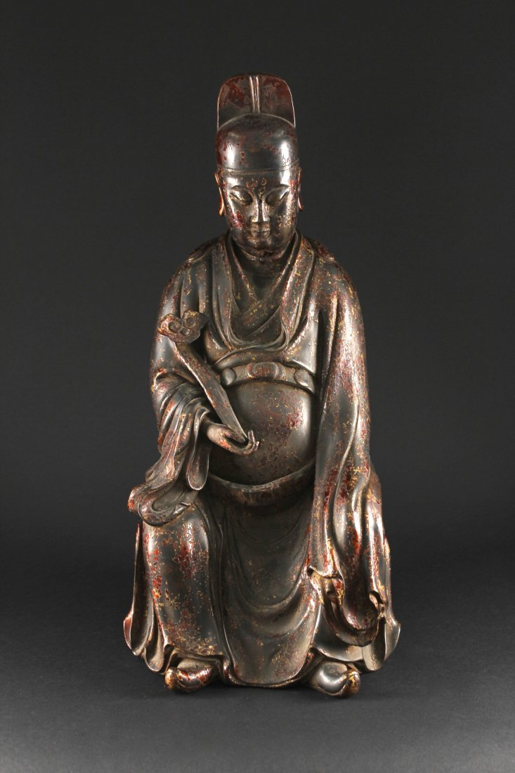 Gilt Bronze WENCHANGDIJUN Statue Ming Dynasty Period