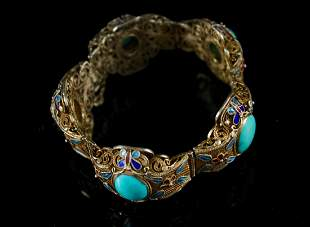 Gilt Silver Inlaid Turquoise Bracelet Qing Dynasty