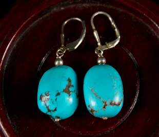 Pair of Silver and Turquoise Earrings