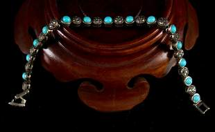 Silver Inlaid Turquoise Bracelet