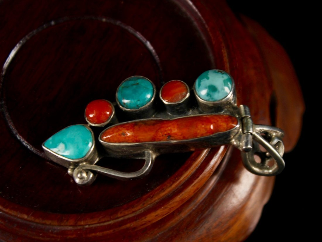 Silver Inlaid Turquoise and Coral Pendant